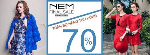 Khuyến mãi - NEM - Final Sale toàn bộ hàng Thu Đông 70%