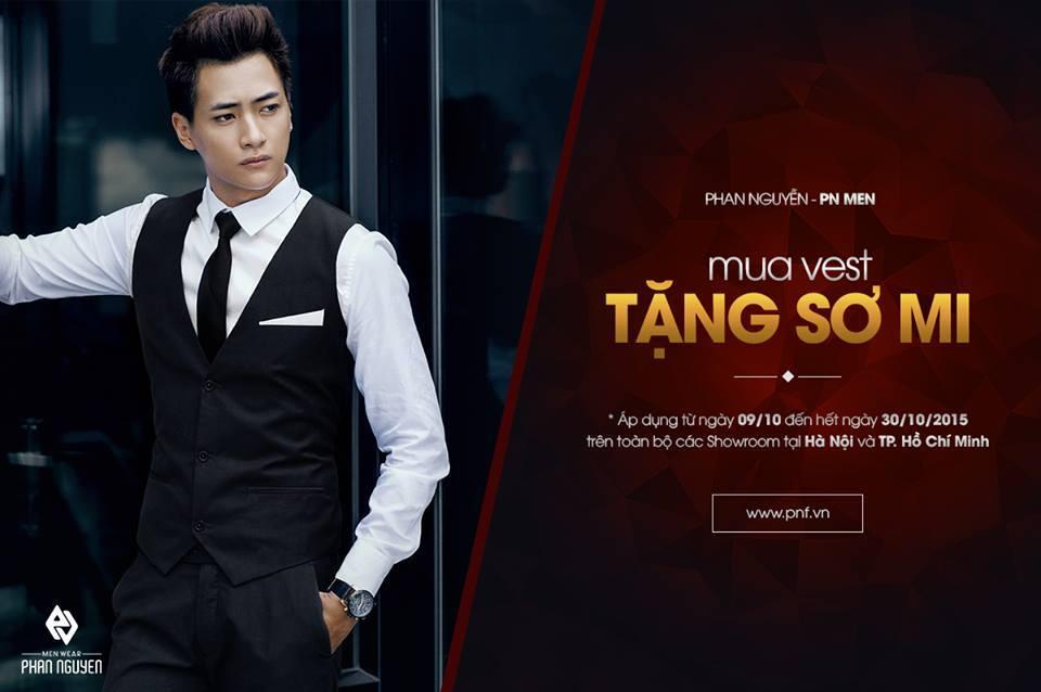 Phan Nguyễn - PN Men khuyến mại mua vest tặng sơ mi miễn phí