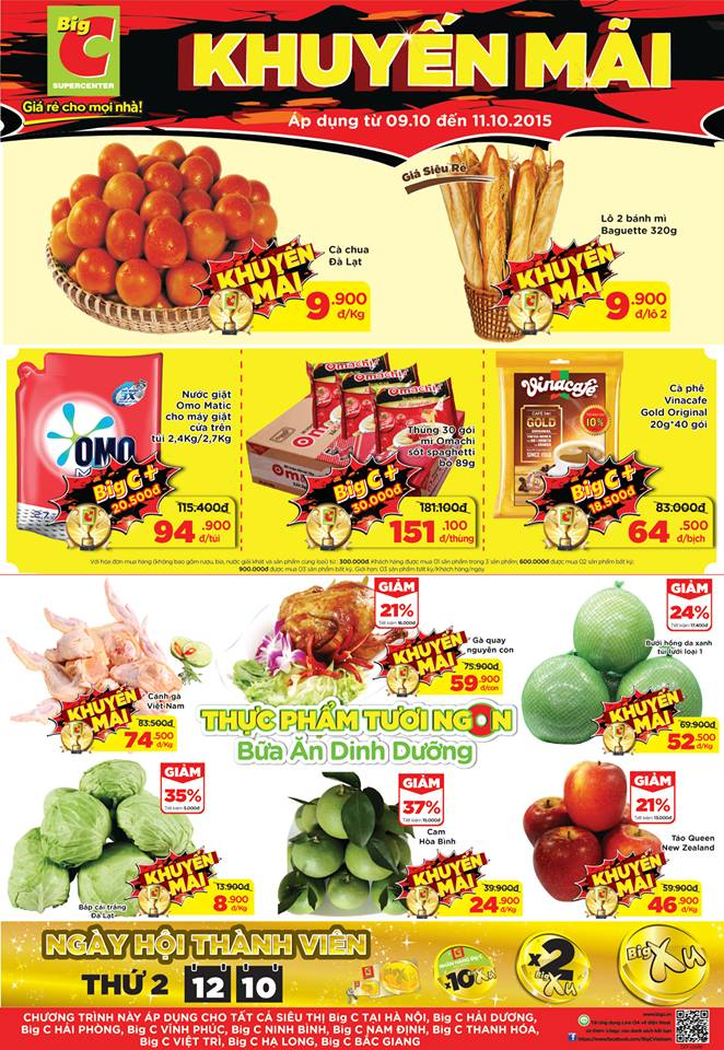 Siêu thị Big c Việt Nam khuyến mại giá sốc cuối tuần từ 09.10-11.10