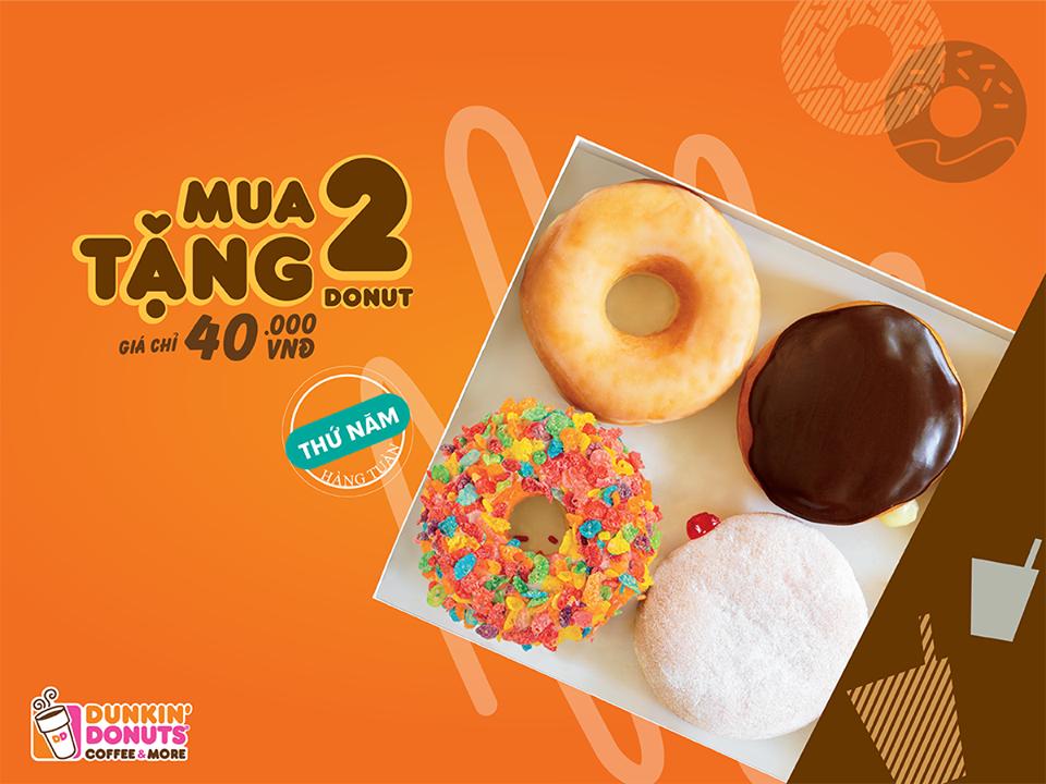 dunkin-donuts-khuyen-mai-mua-2-tang-2-donut-thu-5-hang-tuan