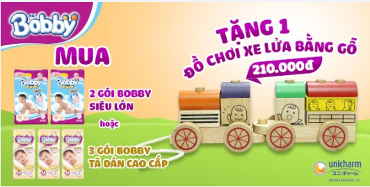 Mua bỉm Bobby tặng đồ chơi xe lửa bằng gỗ trị giá 210.000đ