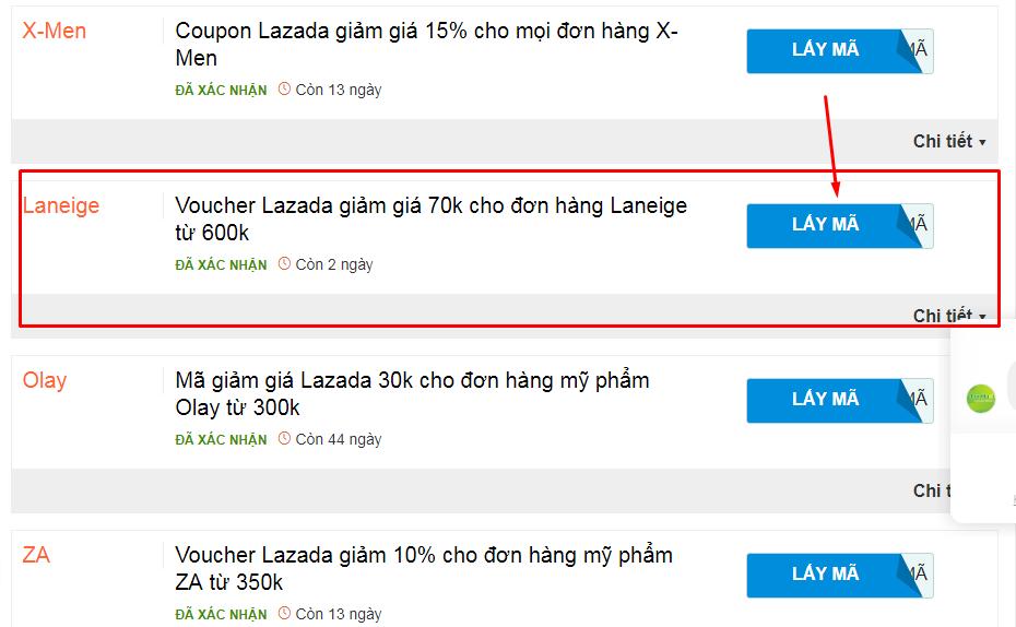 Cách lấy mã giảm giá của Lazada trên Chanh Tươi